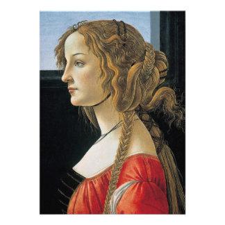 Retrato de uma jovem mulher por Botticelli Convites Personalizado