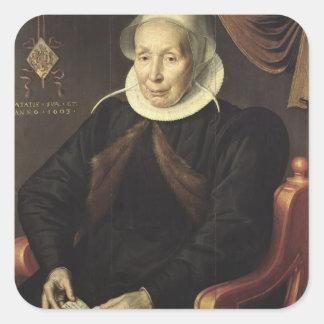 Retrato de uma mulher idosa, 1603 adesivo quadrado