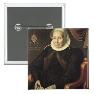 Retrato de uma mulher idosa, 1603 bóton quadrado 5.08cm