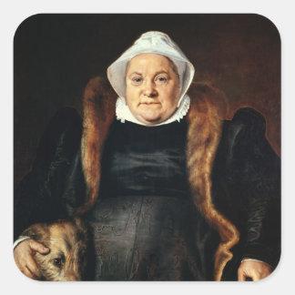 Retrato de uma mulher idosa adesivo quadrado