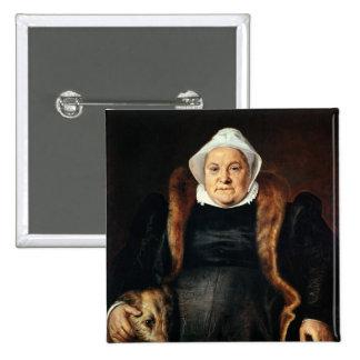 Retrato de uma mulher idosa bóton quadrado 5.08cm