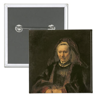 Retrato de uma mulher idosa, C. 1650 Bóton Quadrado 5.08cm