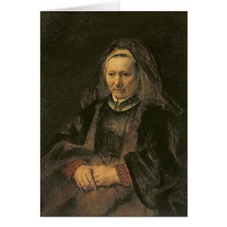 Retrato de uma mulher idosa, C. 1650 Cartao