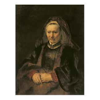 Retrato de uma mulher idosa, C. 1650 Cartão Postal