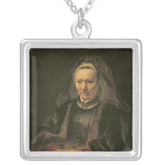 Retrato de uma mulher idosa, C. 1650 Colar Com Pendente Quadrado