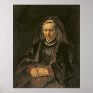 Retrato de uma mulher idosa, C. 1650 Pôsteres