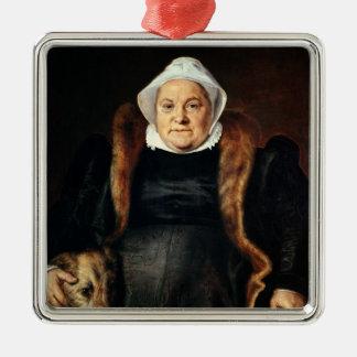 Retrato de uma mulher idosa ornamento quadrado cor prata