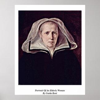 Retrato de uma mulher idosa por Guido Reni Pôsteres