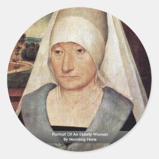 Retrato de uma mulher idosa por Memling Hans Adesivos Em Formato Redondos
