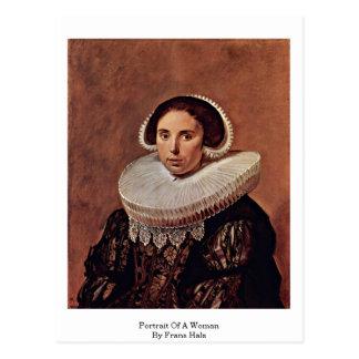 Retrato de uma mulher por Frans Hals Cartões Postais