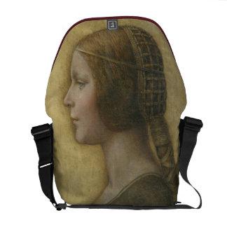 Retrato de uma noiva nova por Leonardo da Vinci Bolsas Mensageiro