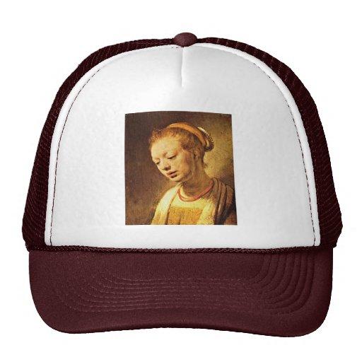 Retrato de uma rapariga por Rembrandt Harmensz. Boné