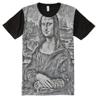 Retrato do esboço do lápis de Mona Lisa Camisetas Com Impressão Frontal Completa