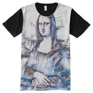 Retrato do Gouache de Mona Lisa Camisetas Com Impressão Frontal Completa