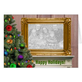 Retrato do Natal na cornija de lareira Cartão Comemorativo