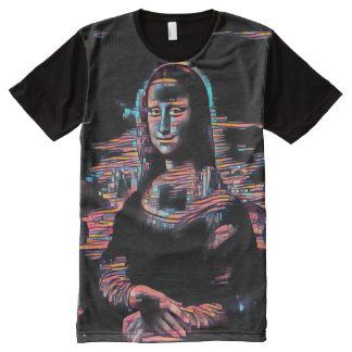 Retrato do óleo de Mona Lisa Hacktivist Camisetas Com Impressão Frontal Completa