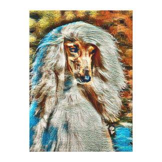 Retrato do óleo do galgo afegão em canvas