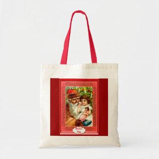 Retrato do papai noel com uma criança e uma boneca bolsa para compras