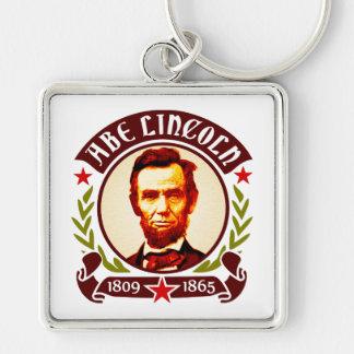 Retrato do presidente Abraham Lincoln Chaveiro Quadrado Na Cor Prata