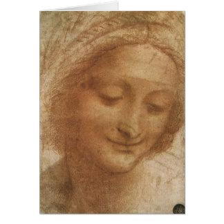 Retrato do santo Anne por Leonardo da Vinci Cartão
