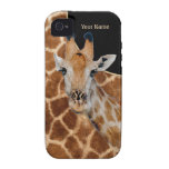 Retrato e pele do girafa - personalize capa para iPhone 4