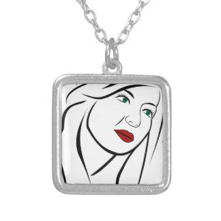 Retrato fêmea colar banhado a prata