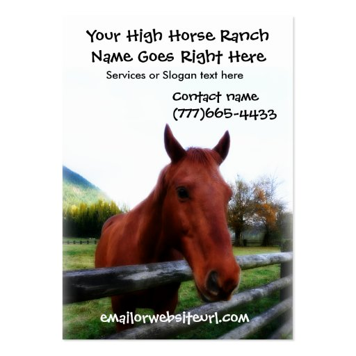 Retrato fotográfico do cavalo de Brown Cartões De Visita