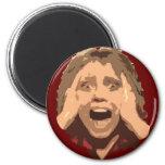 Retrato gritando abstrato da mulher imãs de geladeira