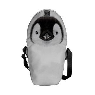 Retrato ilustrado do pintainho do pinguim de bolsa mensageiro