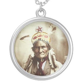 Retrato indiano de Geronimo do líder de Chiricahua Colar Com Pendente Redondo