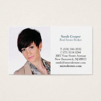 Retrato moderno da foto da caixa simples branca cartão de visitas