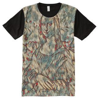 Retrato moderno de Mona Lisa Camisetas Com Impressão Frontal Completa