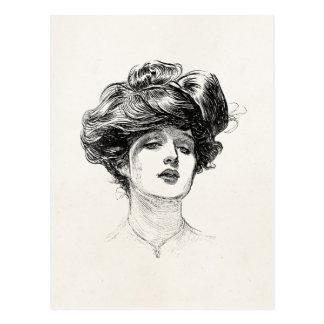 Retrato retro da mulher de Edwardian da menina de Cartão Postal