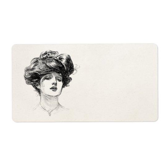Retrato retro da mulher de Edwardian da menina de Etiqueta De Frete