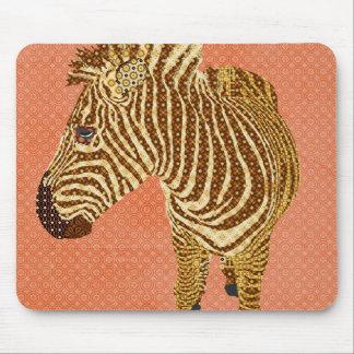 Retro Zebra II Orange Mousepad