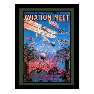 Reunião da aviação do vintage no poster de Los Cartão Postal