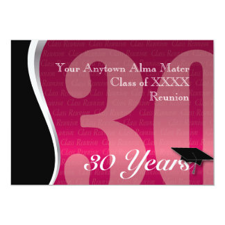Reunião de classe customizável de 30 anos convite 12.7 x 17.78cm