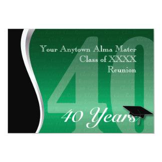 Reunião de classe customizável de 40 anos convite 12.7 x 17.78cm