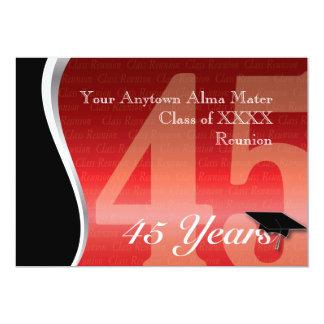 Reunião de classe customizável de 45 anos convite 12.7 x 17.78cm
