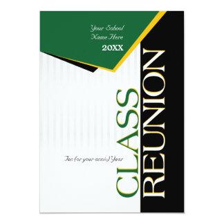 Reunião de classe customizável do verde e do ouro convite 12.7 x 17.78cm