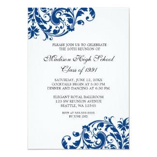 Reunião de classe do Flourish dos azuis marinhos e Convite 12.7 X 17.78cm