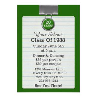 Reunião de classe do verde do papel para cartas do convite 12.7 x 17.78cm
