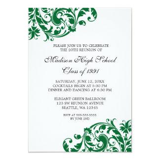Reunião de classe verde e preta do Flourish Convite 12.7 X 17.78cm