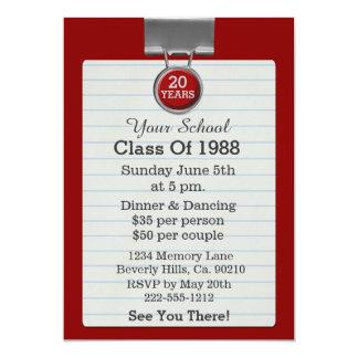 Reunião de classe vermelha do papel para cartas do convite 12.7 x 17.78cm