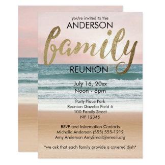 Reunião de família cor-de-rosa da praia do por do convite 12.7 x 17.78cm