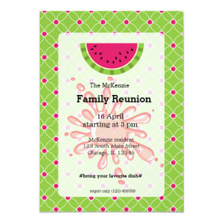 Reunião de família da melancia convite 12.7 x 17.78cm