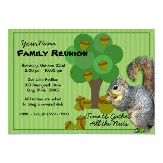 Reunião de família do esquilo convite 12.7 x 17.78cm