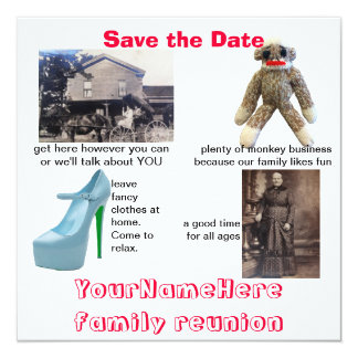 Reunião de família lunática convite quadrado 13.35 x 13.35cm