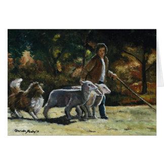 """""""Reunindo cartão de nota da arte do cão de Sheltie"""