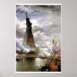Revelando a pintura da estátua da liberdade posters